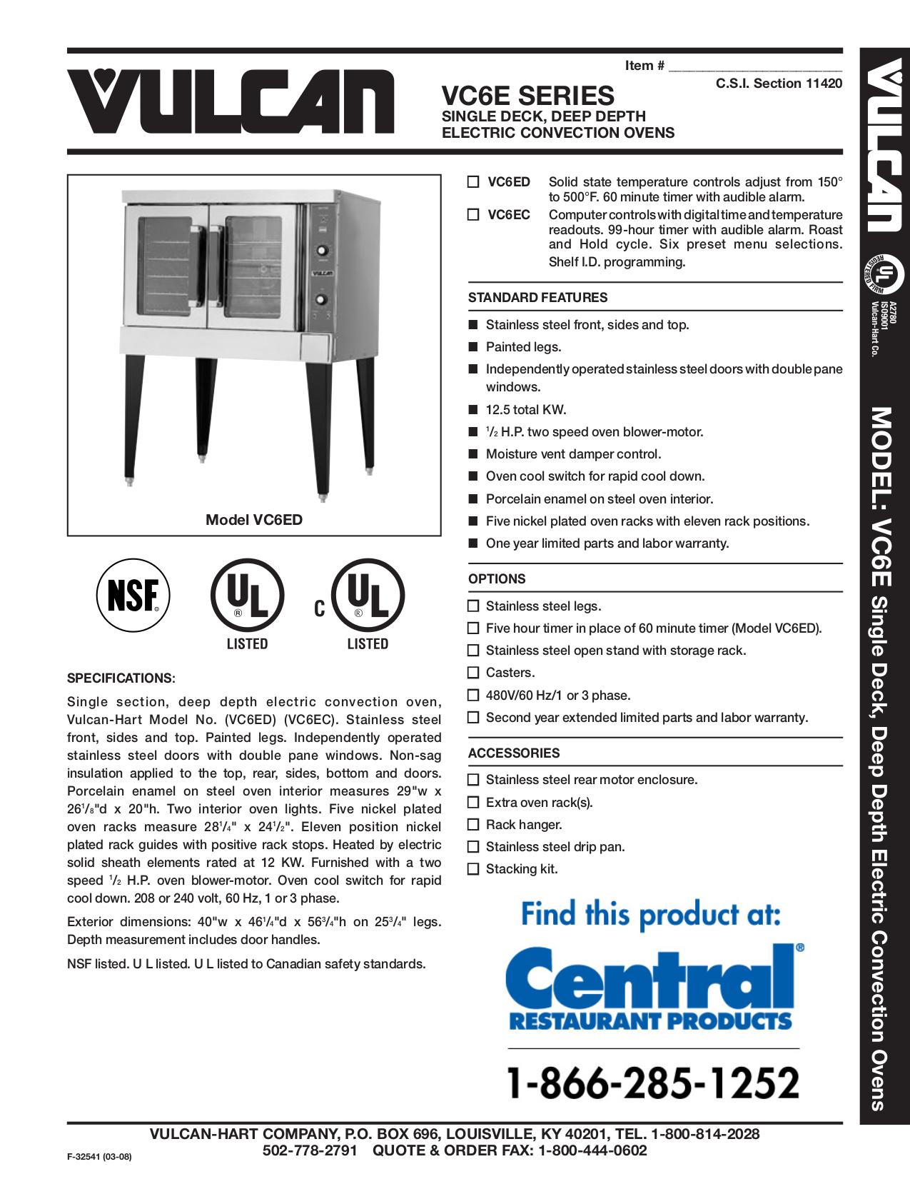 pdf for Vulcan Oven VC6EC manual
