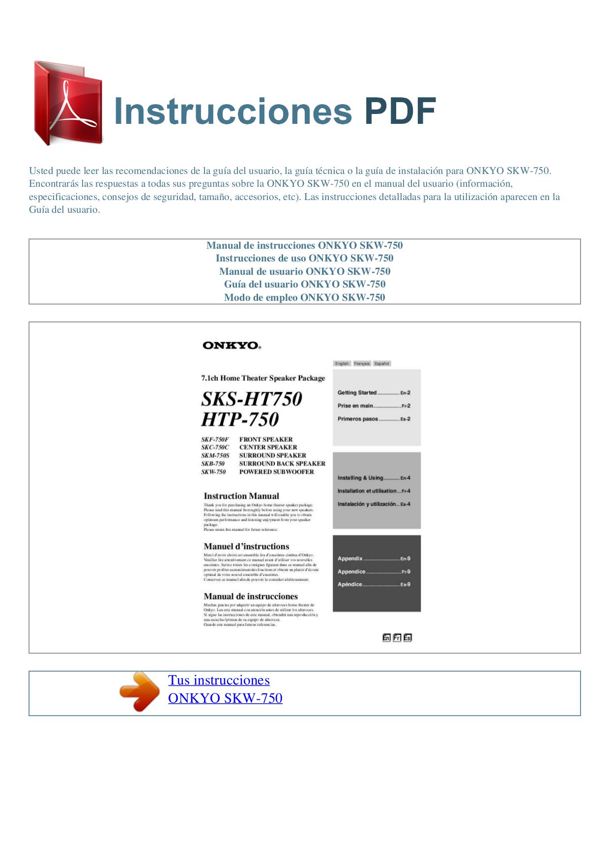 pdf for Onkyo Subwoofer SKW-750 manual
