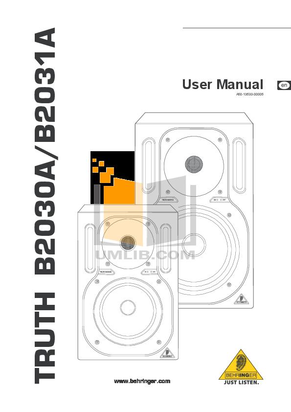 pdf for Behringer Speaker B2031 manual