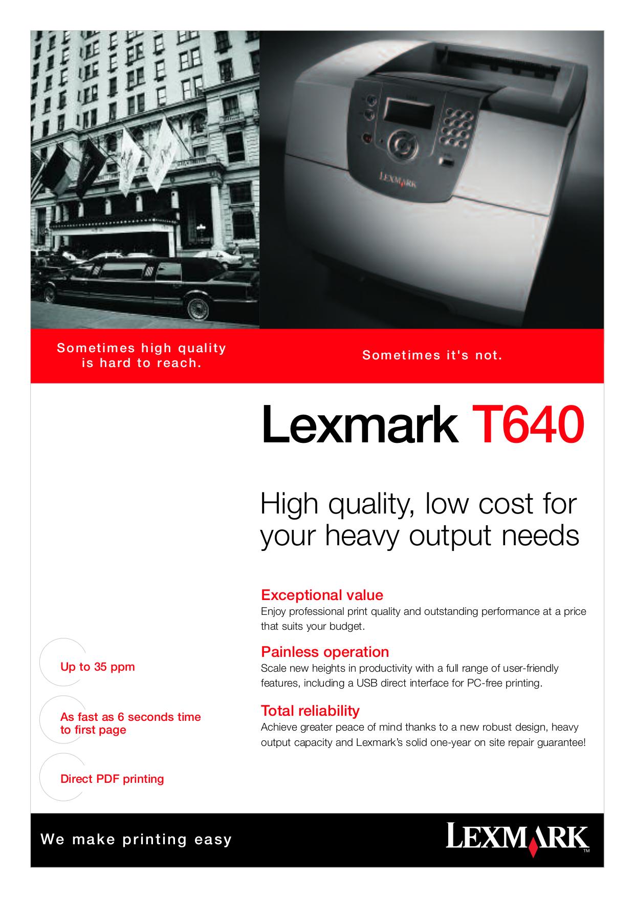 pdf for Lexmark Printer T640dtn manual