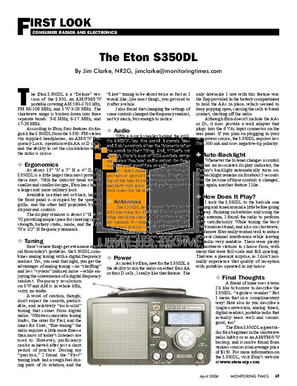 Download Free Pdf For Eton S350dl Radio Manual Manual Guide