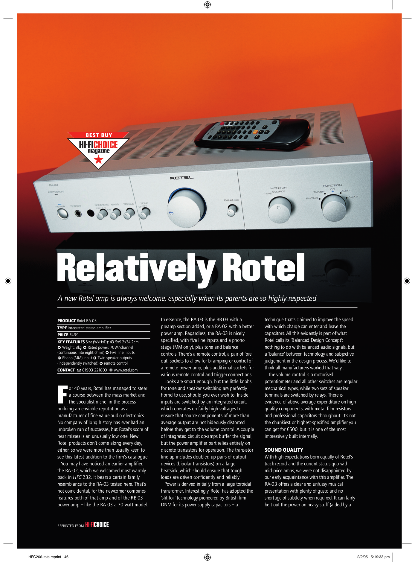 pdf for Rotel Amp RA-02 manual