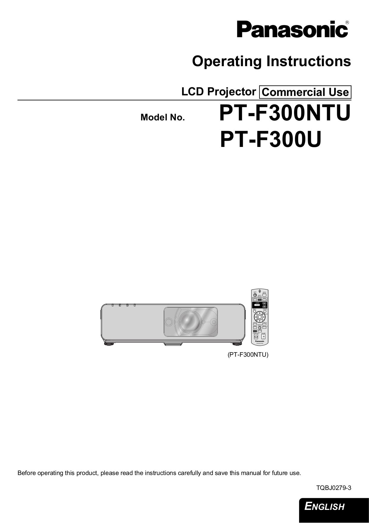 pdf for Panasonic Projector PT-F300NTU manual
