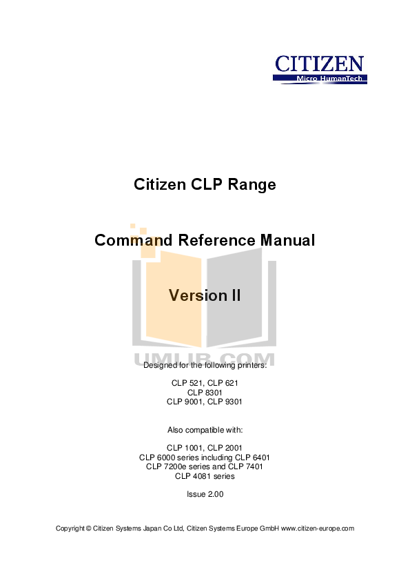 pdf for Citizen Printer CLP-621 manual