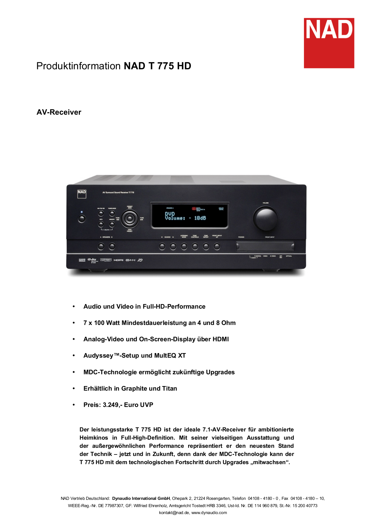 pdf for NAD Receiver T775 manual