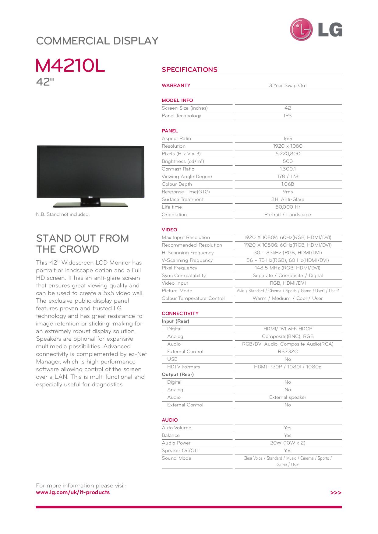 pdf for LG Monitor M4210N manual