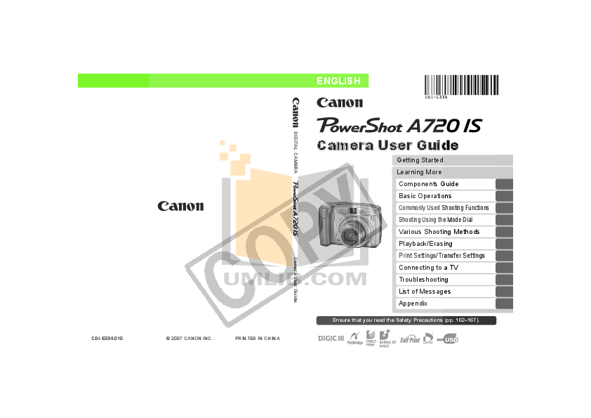 Canon Digital Camera Powershot A720 IS pdf page preview