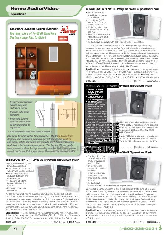 pdf for Dayton Speaker CS820 manual