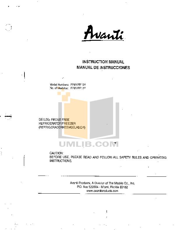 pdf for Avanti Refrigerator FF1061W manual