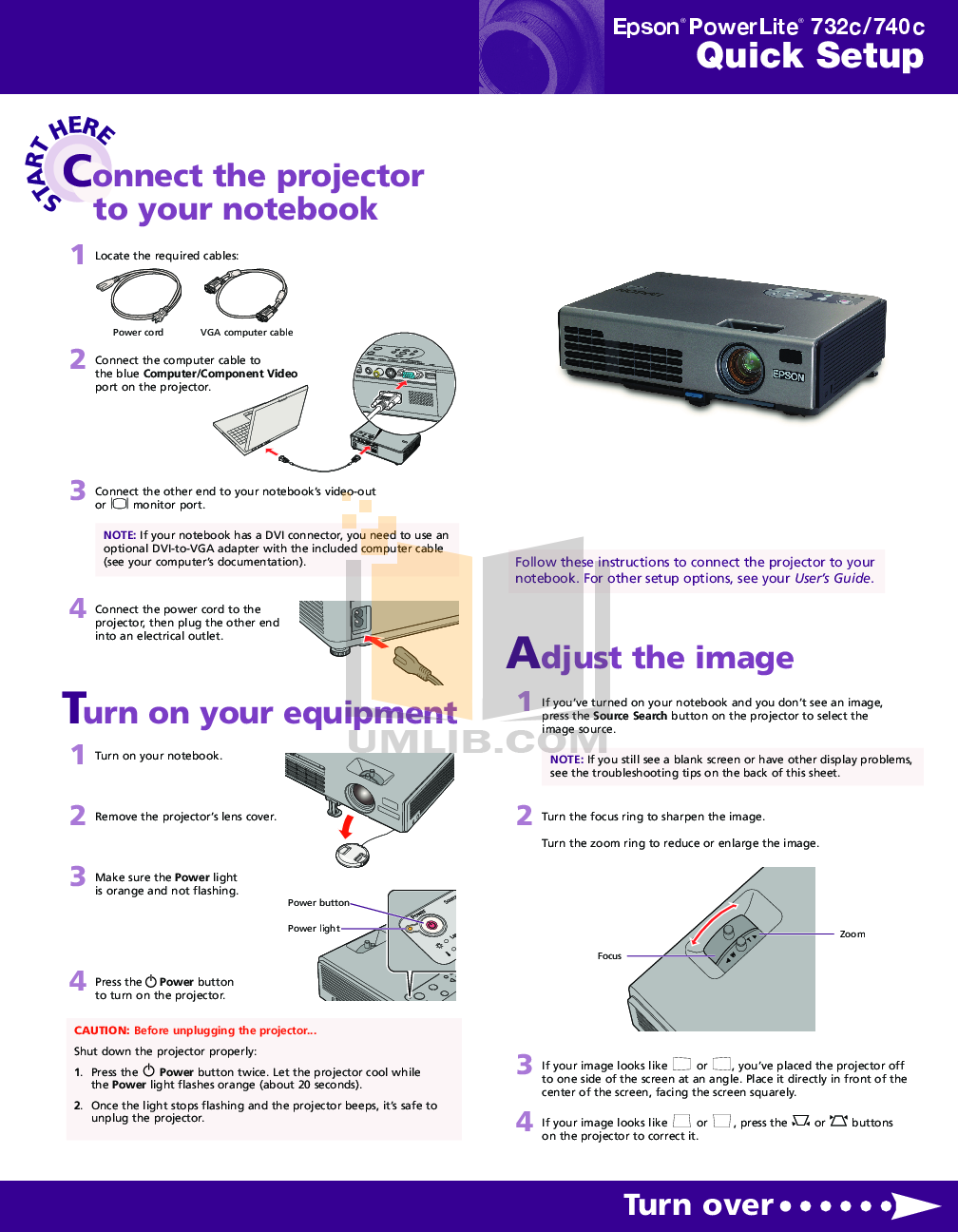 PDF manual for Epson Projector PowerLite 732c