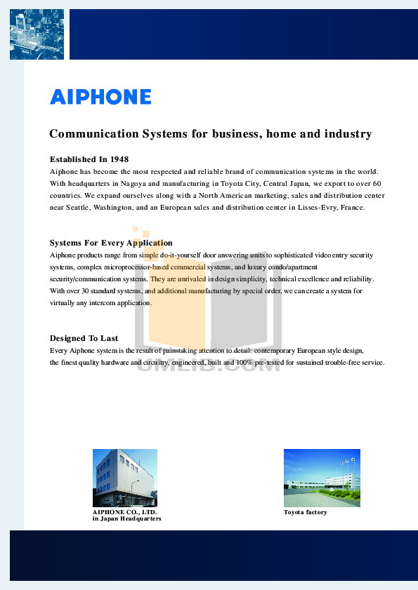 Aiphone Other MYW-P3B Intercoms-Accessory pdf page preview