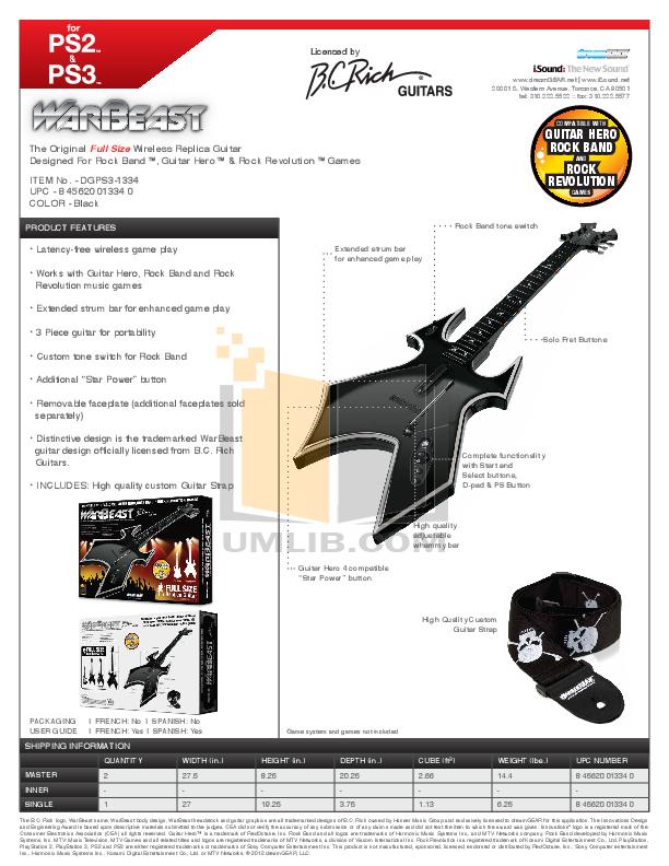 pdf for BCRich Guitar RWBS manual