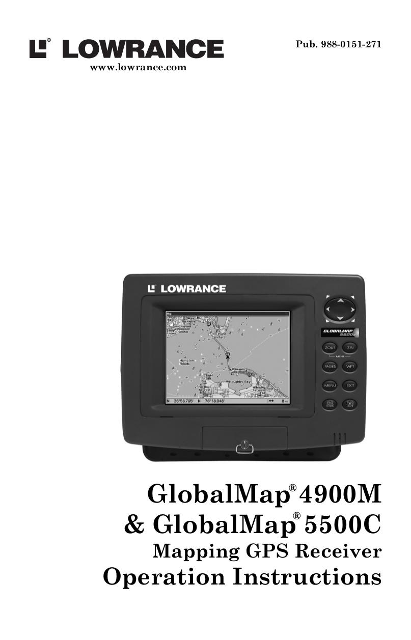 pdf for Lowrance GPS GlobalMap 1000 manual