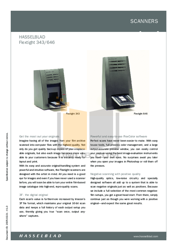 pdf for Hasselblad Scanner Flextight 646 manual