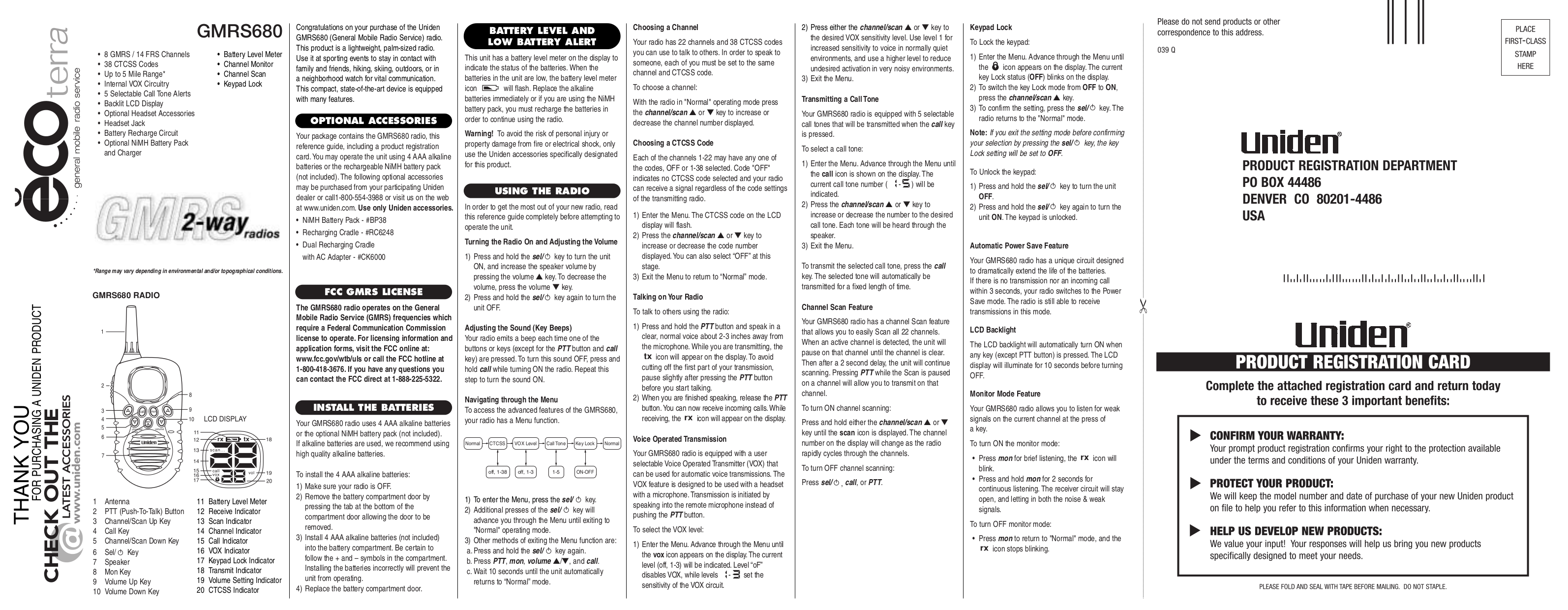 pdf for Uniden 2-way Radio GMRS680 manual
