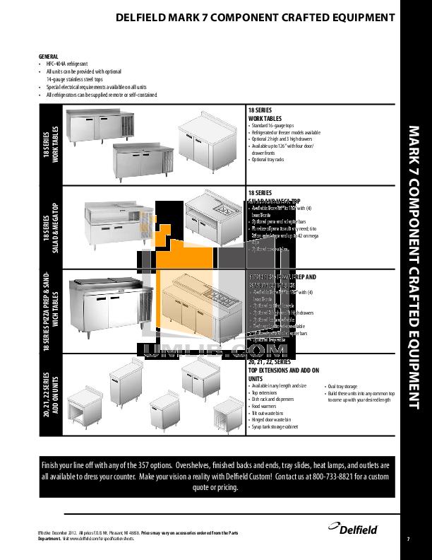 Delfield Refrigerator SSRRI3-G pdf page preview