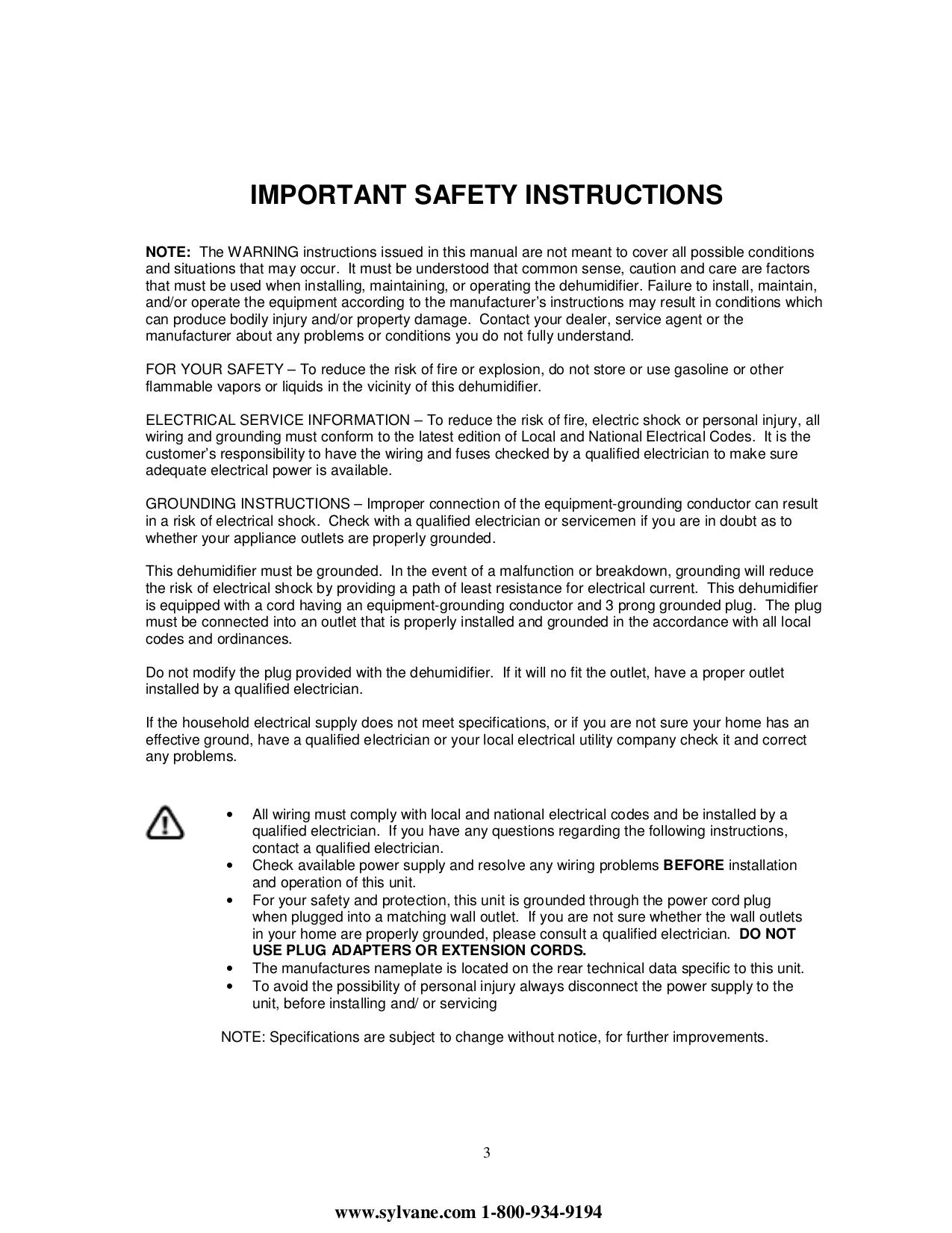 PDF manual for Soleus Dehumidifier CFM-40E