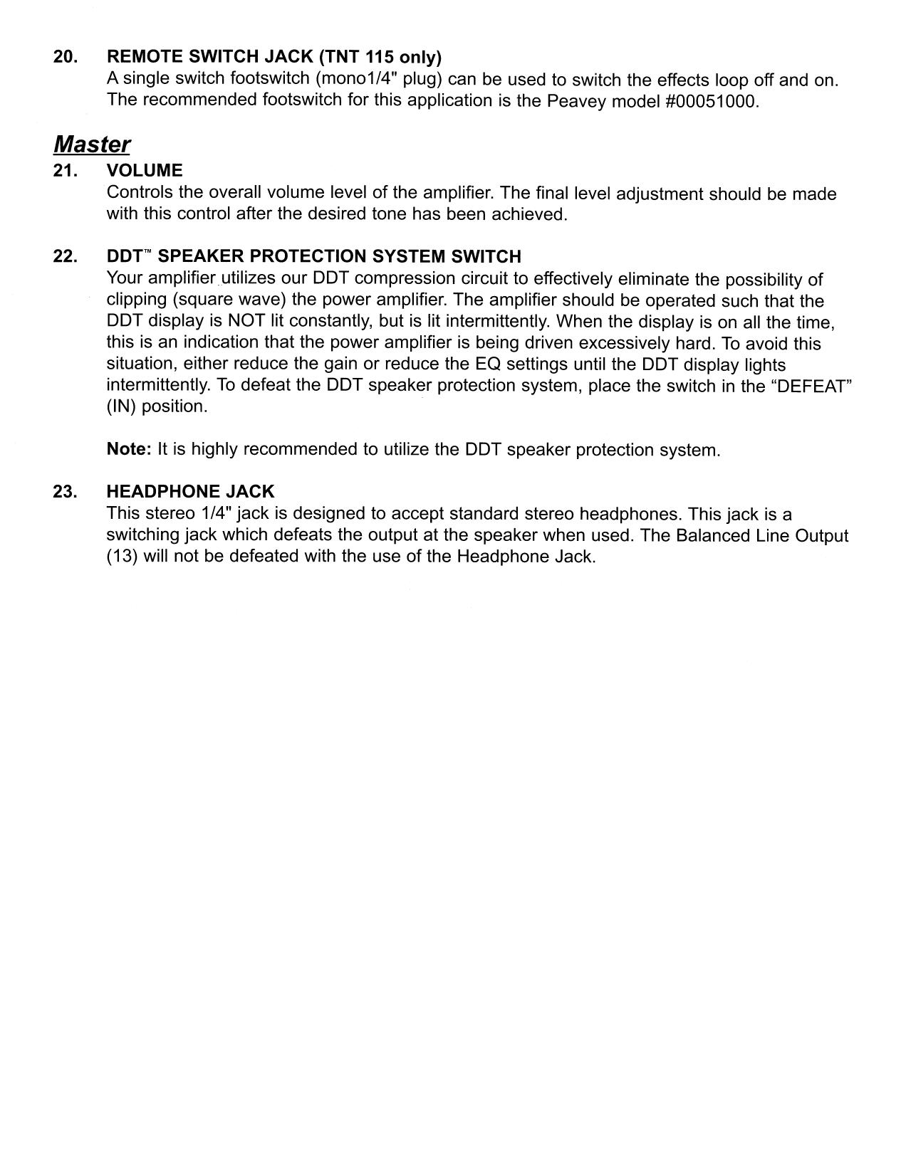 PDF manual for Peavey Amp TNT 115S