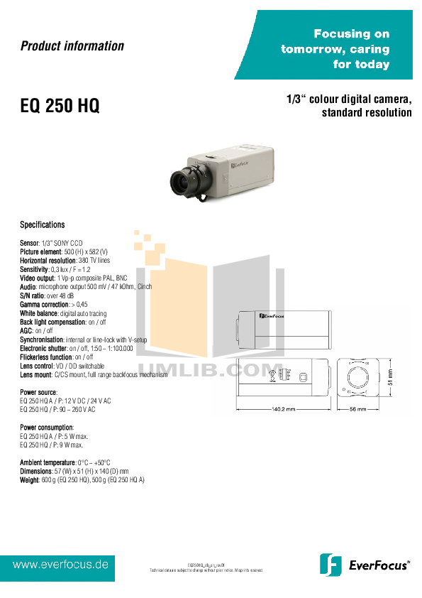 pdf for EverFocus Security Camera EQ250 manual