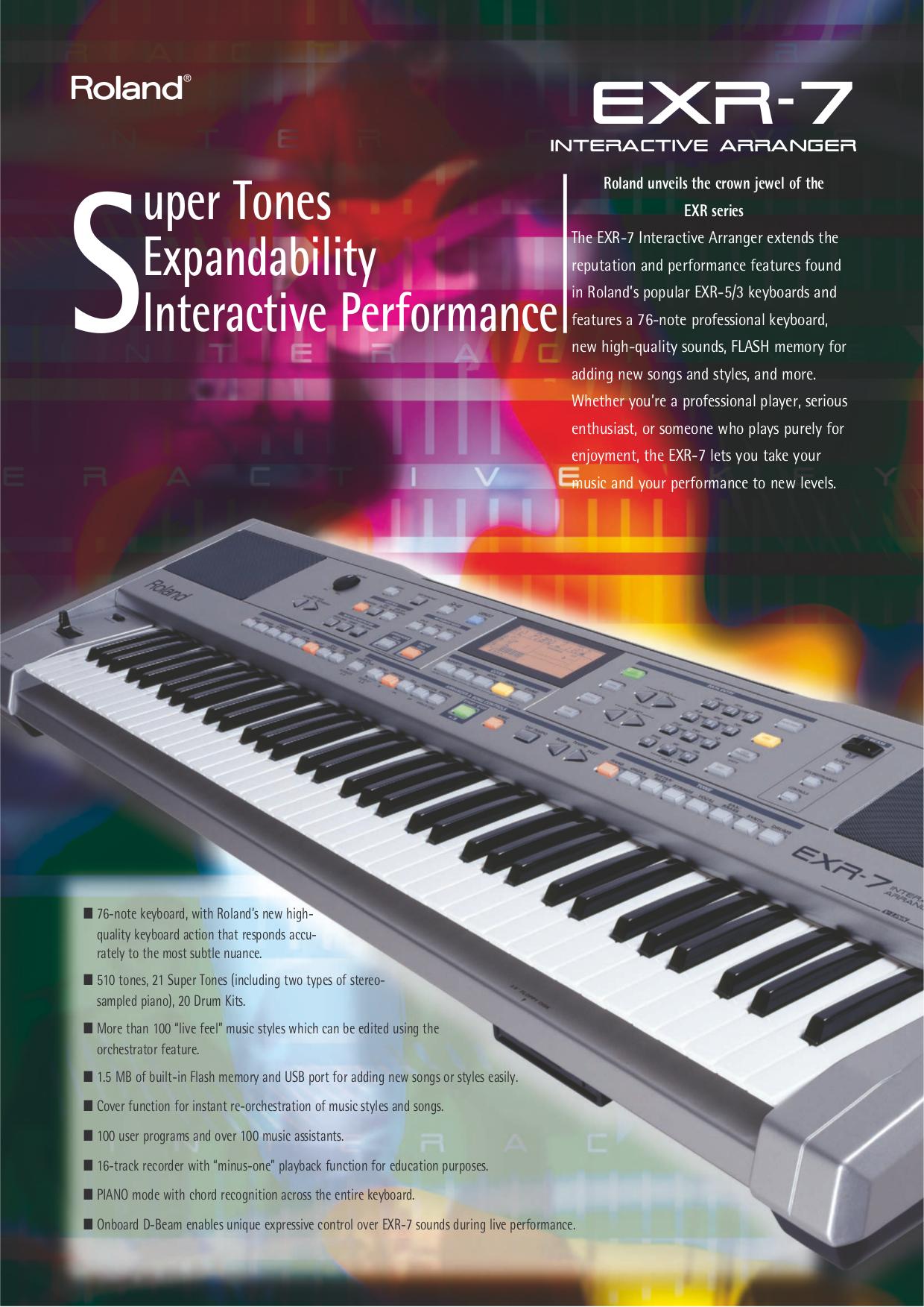 Download Free Pdf For Roland EXR 5 Music Keyboard Manual