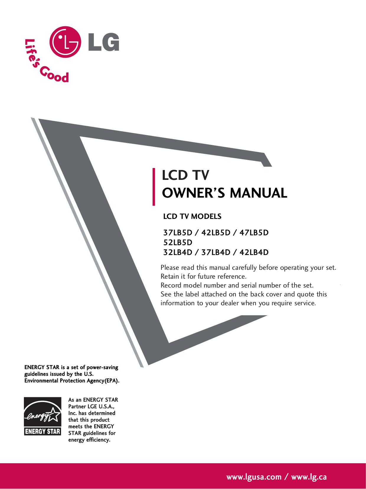 Lg lb5d manual