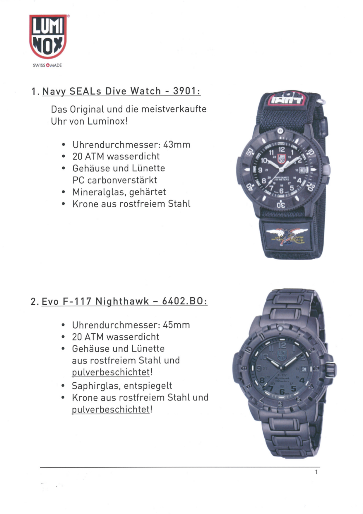 pdf for Luminox Watch Navy SEAL 3901 manual