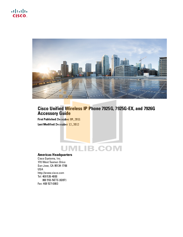 Download free pdf for Cisco 7925G-EX Telephone manual