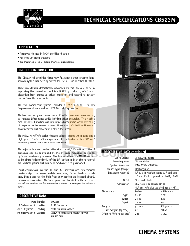 pdf for Eaw Speaker System Cinema CB523M manual