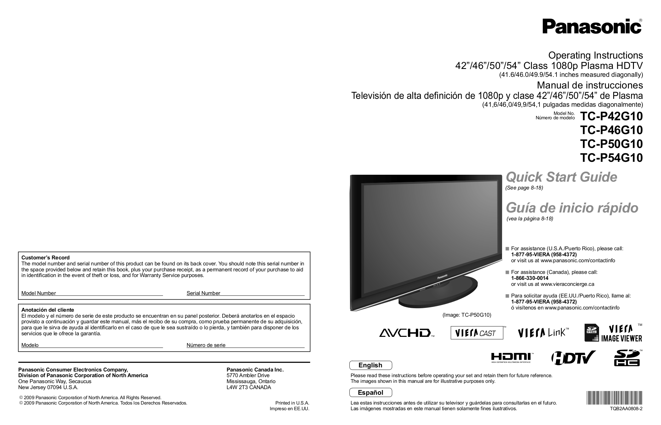 panasonic viera 55 plasma manual