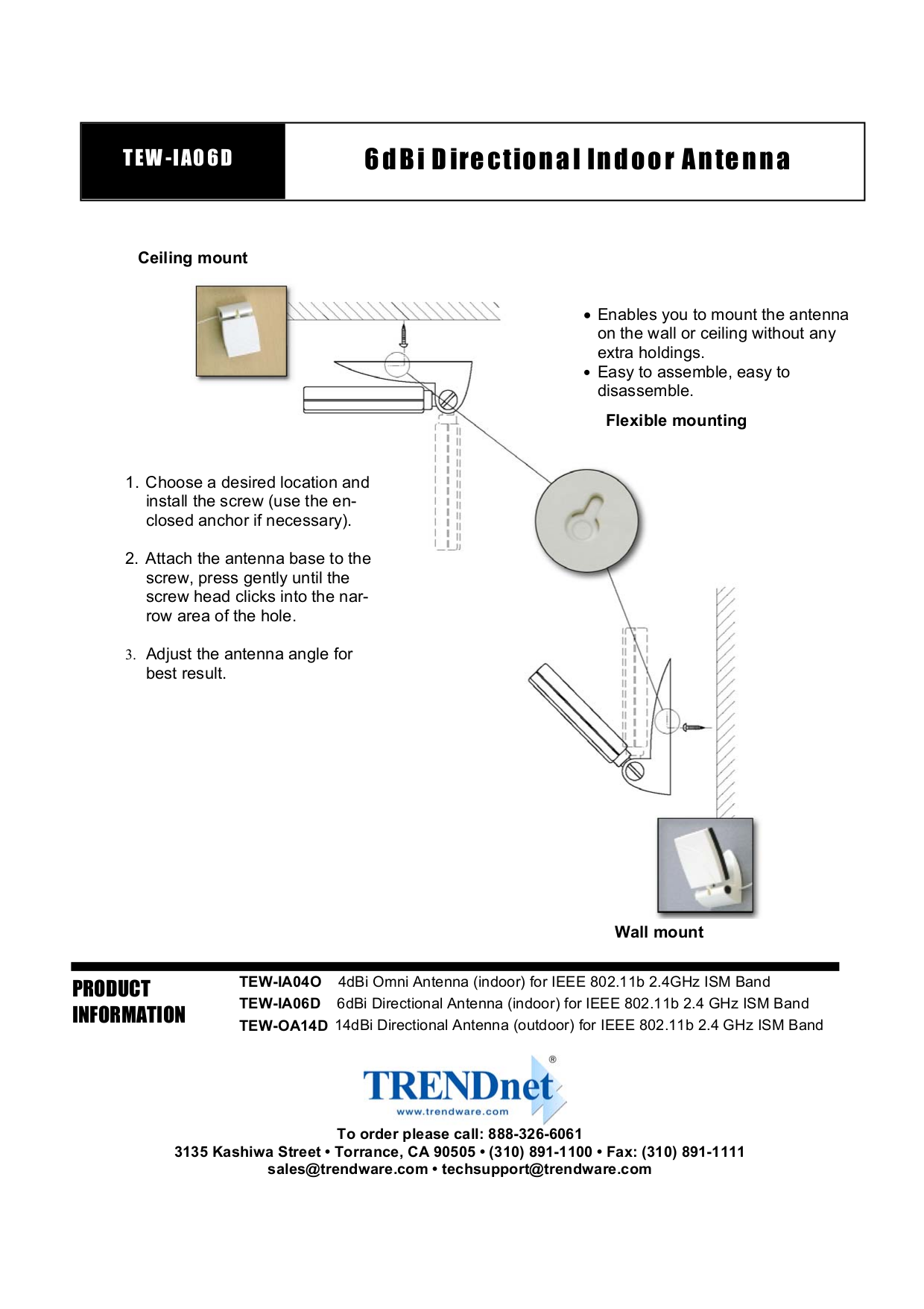 PDF manual for TRENDnet Other TEW-IA06D Wireless Indoor Antenna