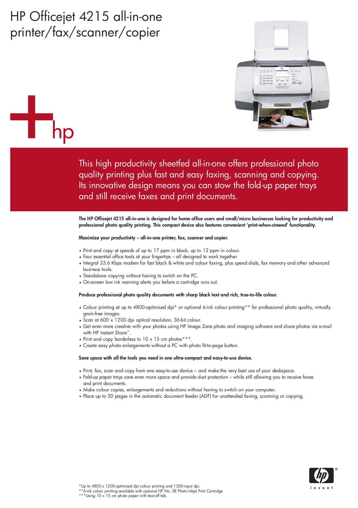 pdf for HP Multifunction Printer Officejet 4215v manual