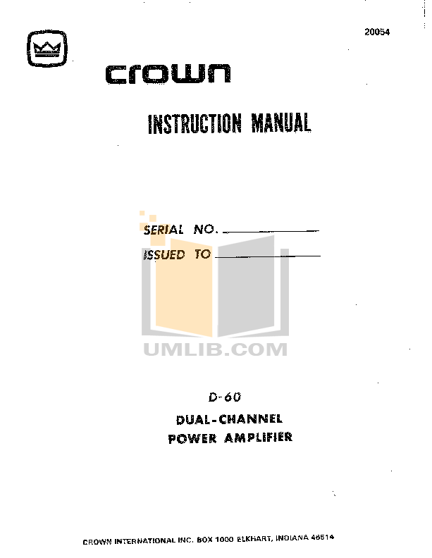 pdf for Crown Other LM-201 Microphones manual