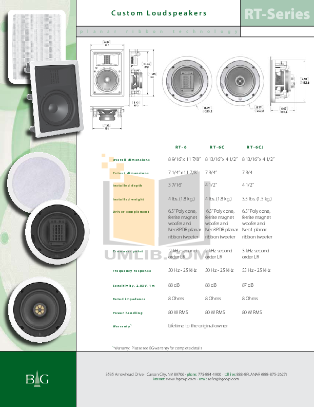 Bg Speaker RT-6CJ pdf page preview