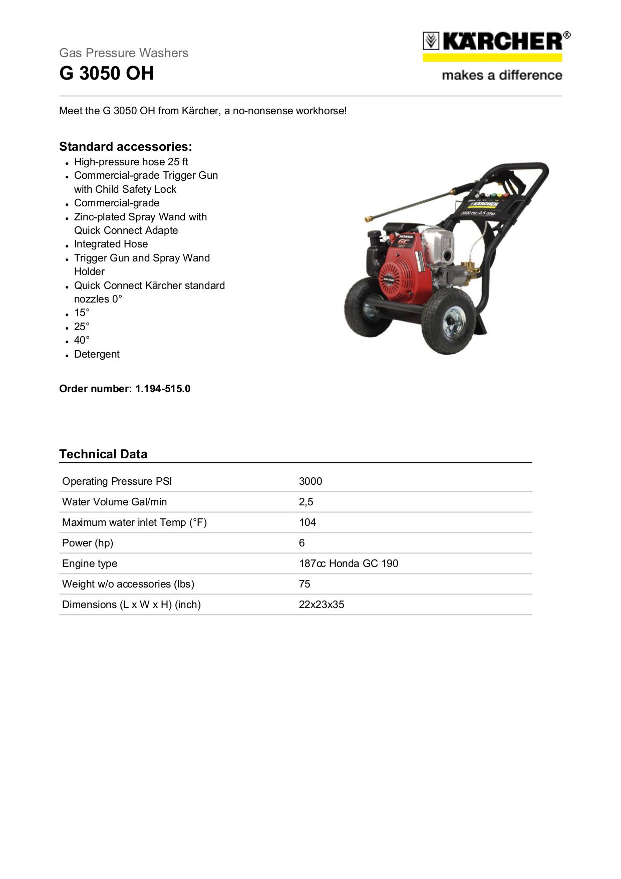pdf for Karcher Other K 3000 G Pressure Washers manual