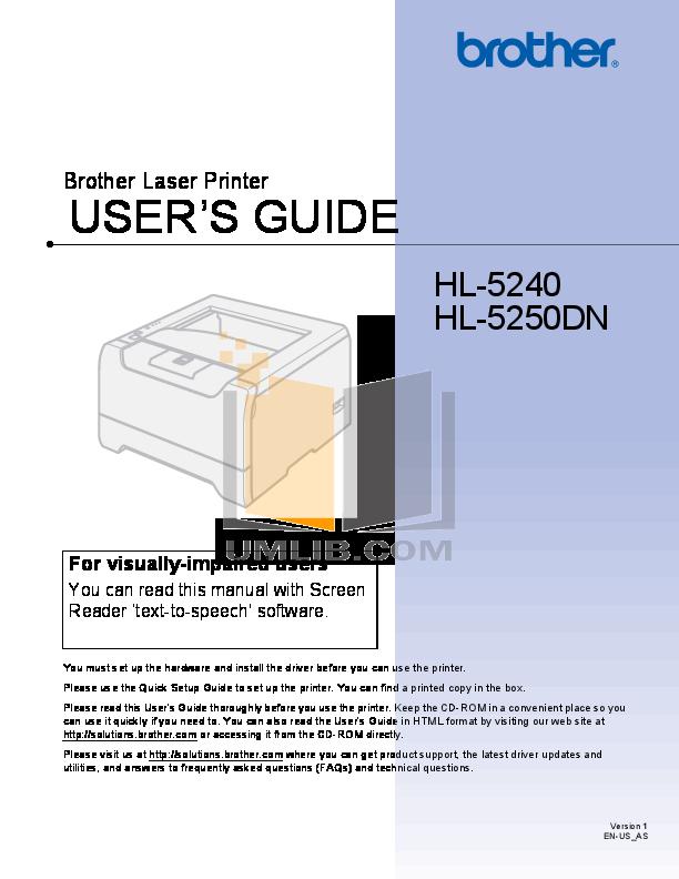 pdf for Brother Printer HL-1260 manual