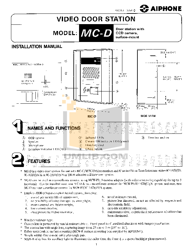 pdf for Aiphone Other MC-D Intercoms manual