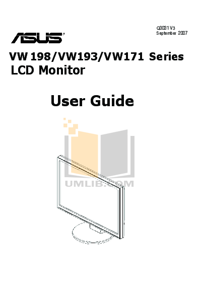 pdf for Asus Monitor VW193T manual