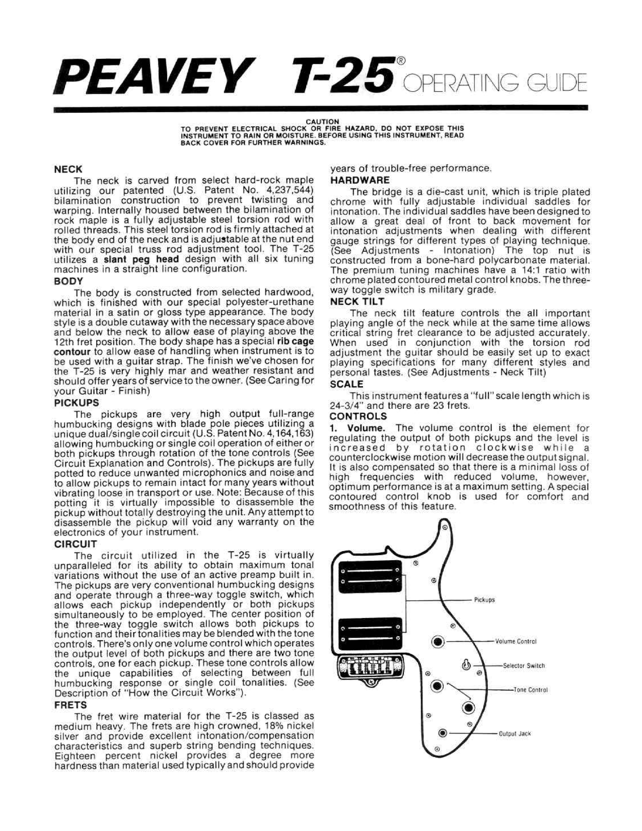 pdf for Peavey Guitar T25 manual
