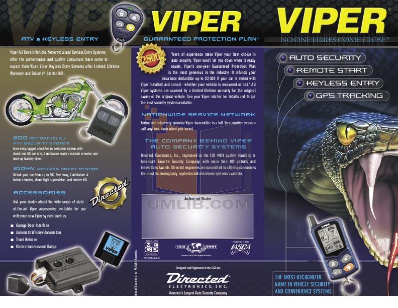 Viper 130xv (viper-130xv) car/vehicle auto remote start system.