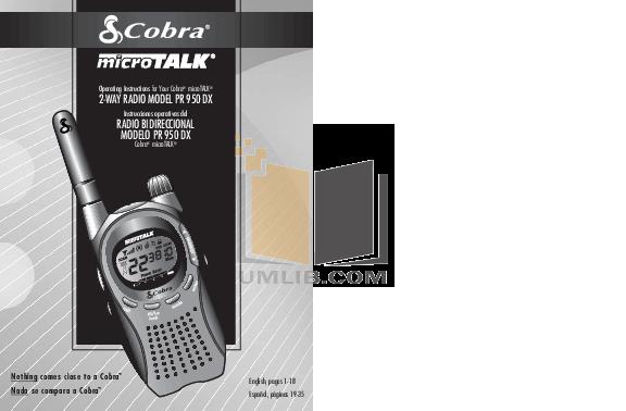 Download Free Pdf For Cobra Microtalk Pr 150 2 Way Radio Manual
