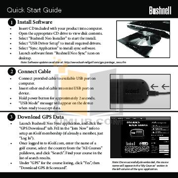 Bushnell neo instruction manual