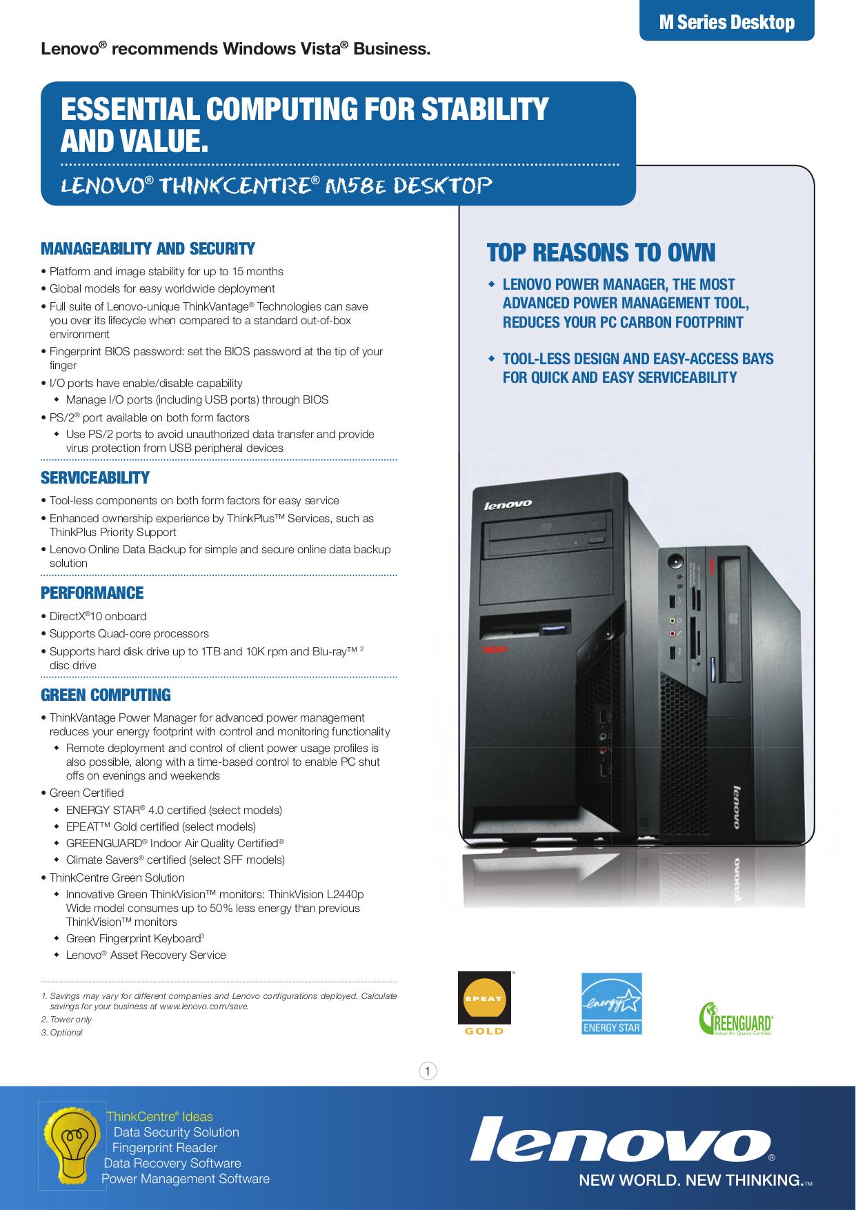 pdf for Lenovo Desktop ThinkCentre M58e 7268 manual