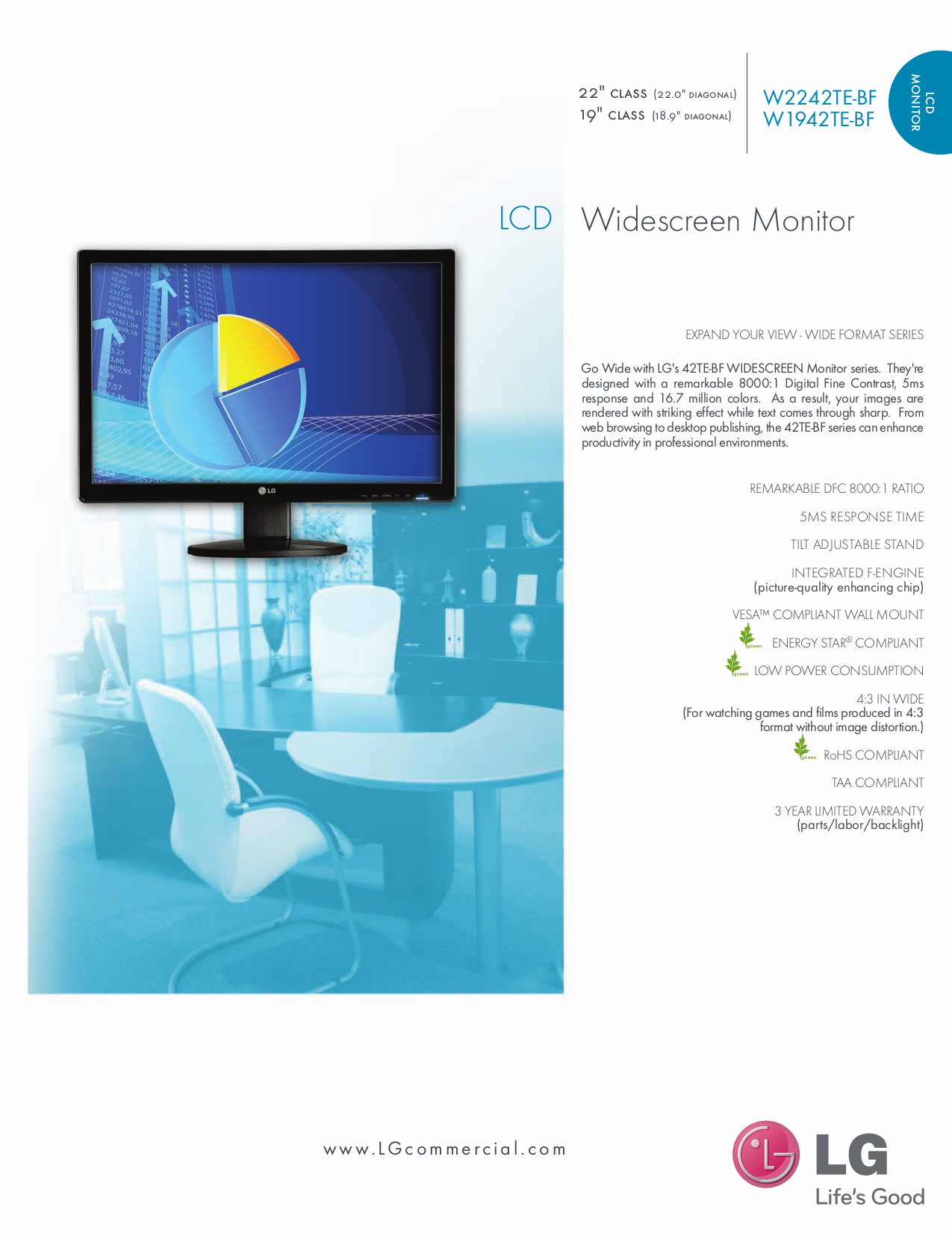 pdf for LG Monitor W2242TE manual