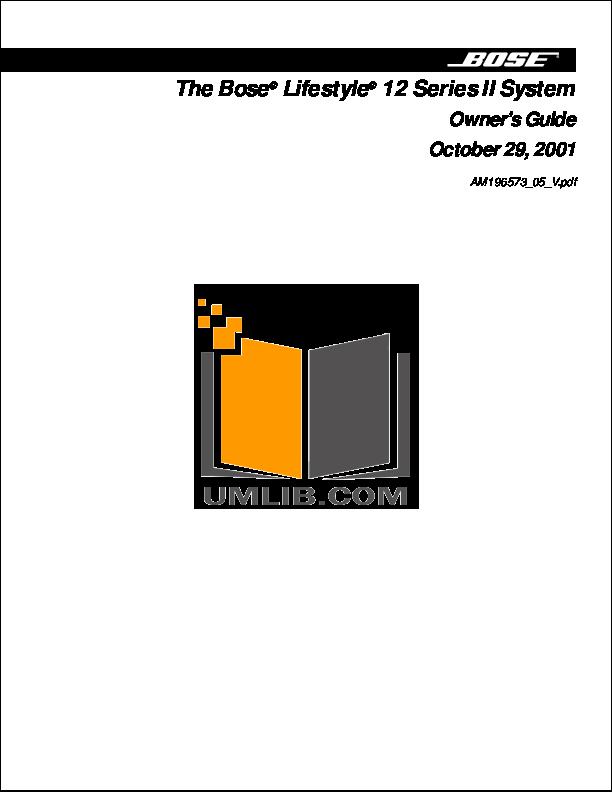 download free pdf for bose acoustimass 15 series i speaker system manual rh umlib com bose acoustimass 15 series ii specifications Bose Acoustimass 15 Speaker System