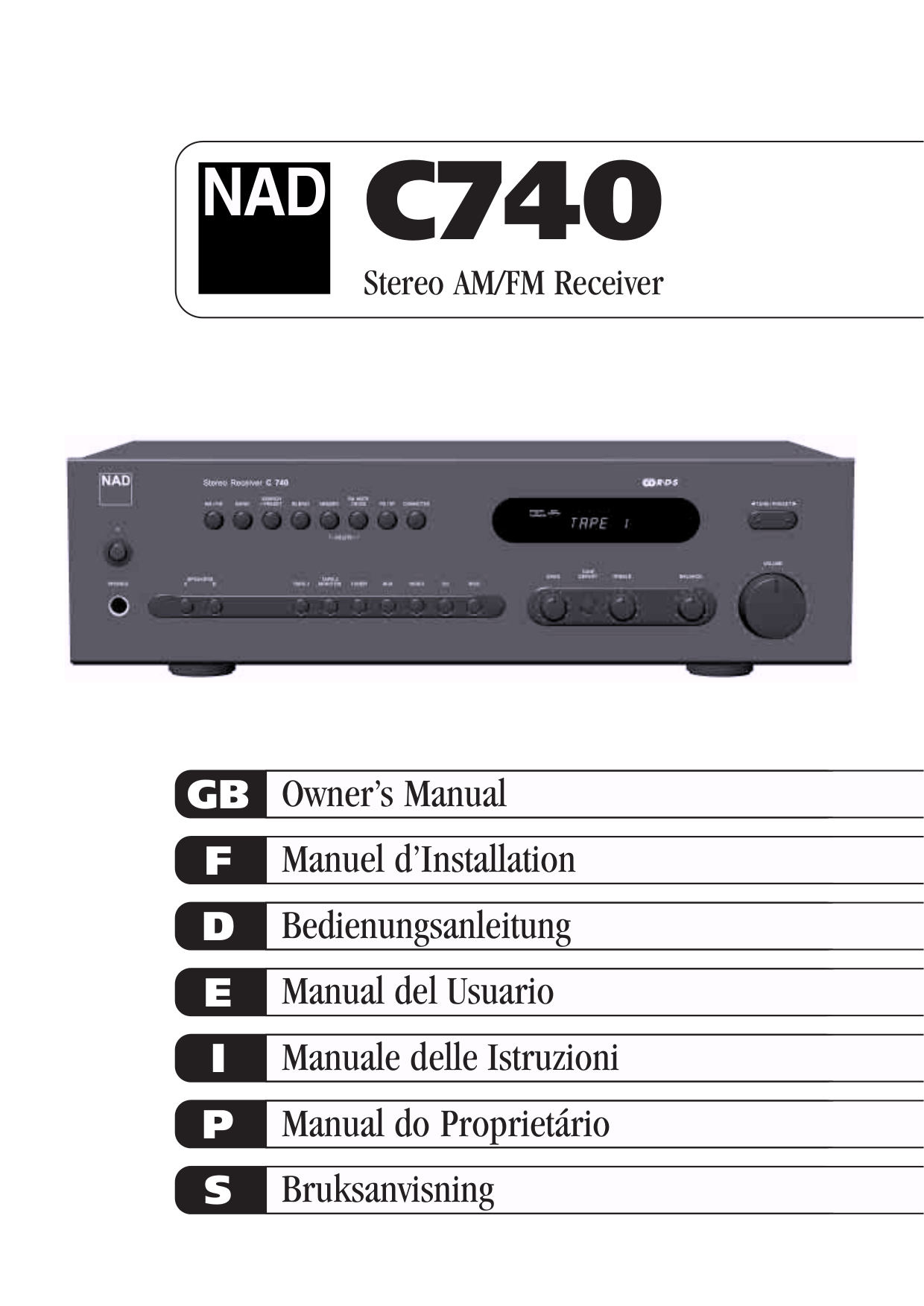 pdf for NAD Receiver C740 manual
