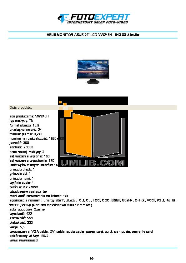 pdf for Asus Monitor VW246H manual
