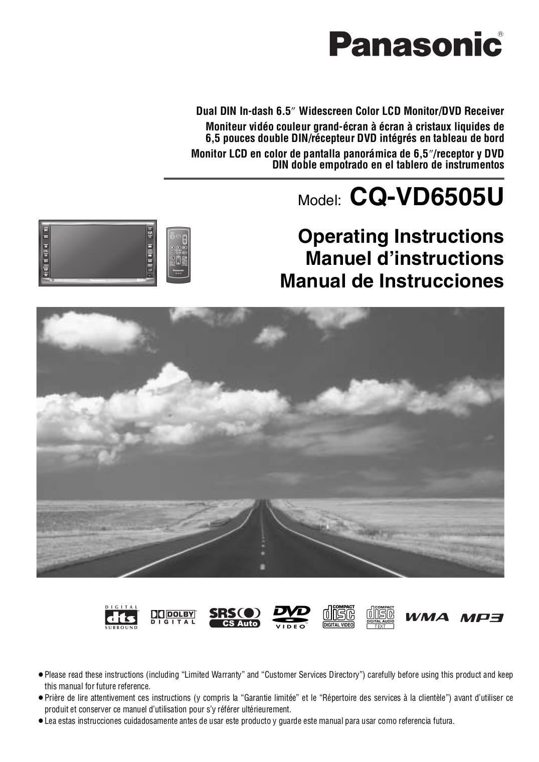 pdf for Panasonic Car Video CQ-VD6505U manual