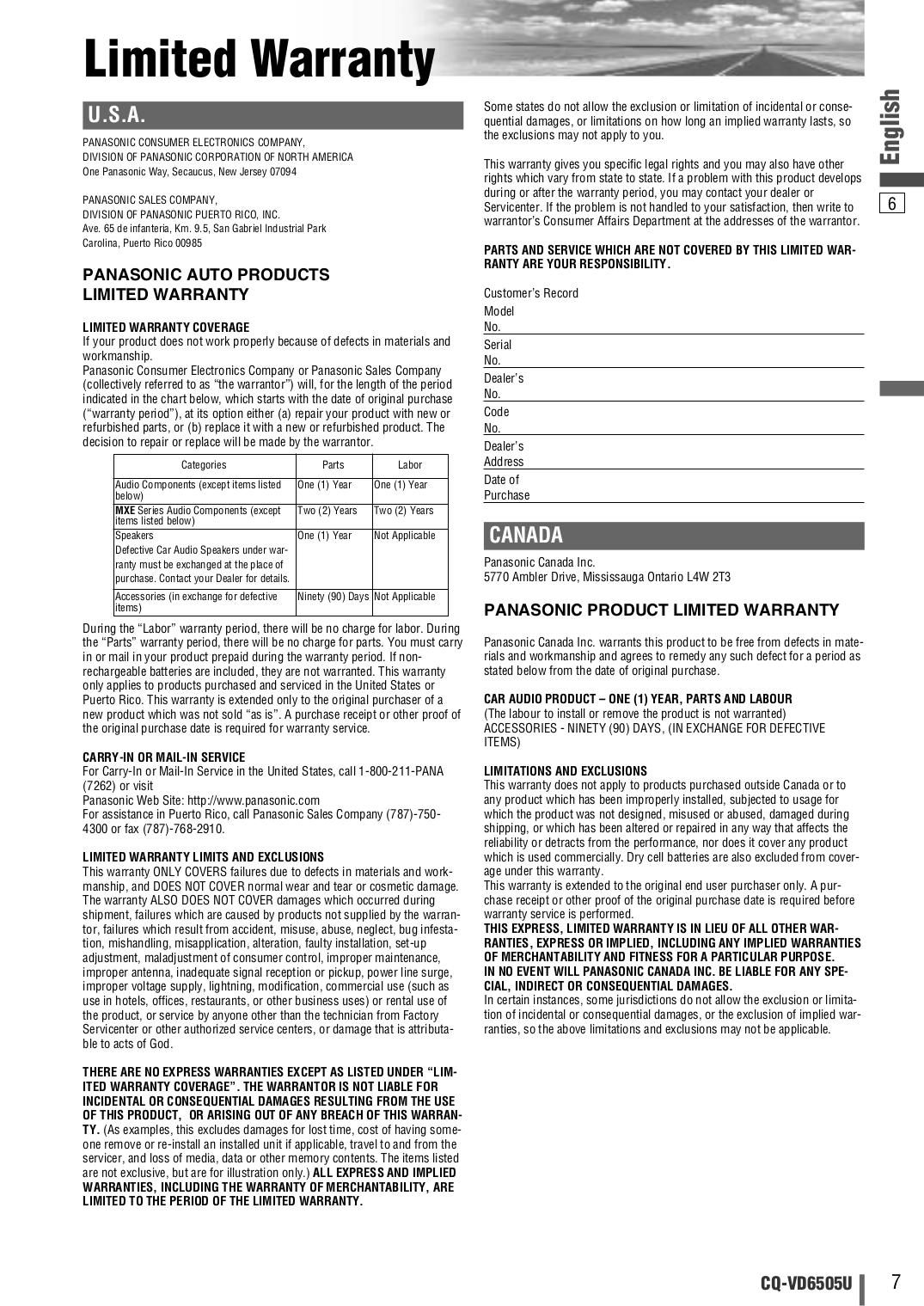 PDF manual for Panasonic Car Video CQ-VD6505U