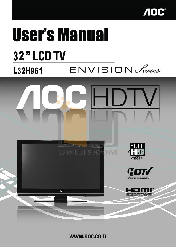 pdf for AOC TV L32H961 manual