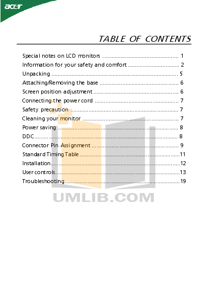 pdf for Acer Monitor S232HL manual